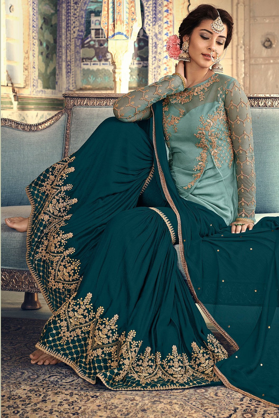 Blue and Green Party Wear Sharara suit
