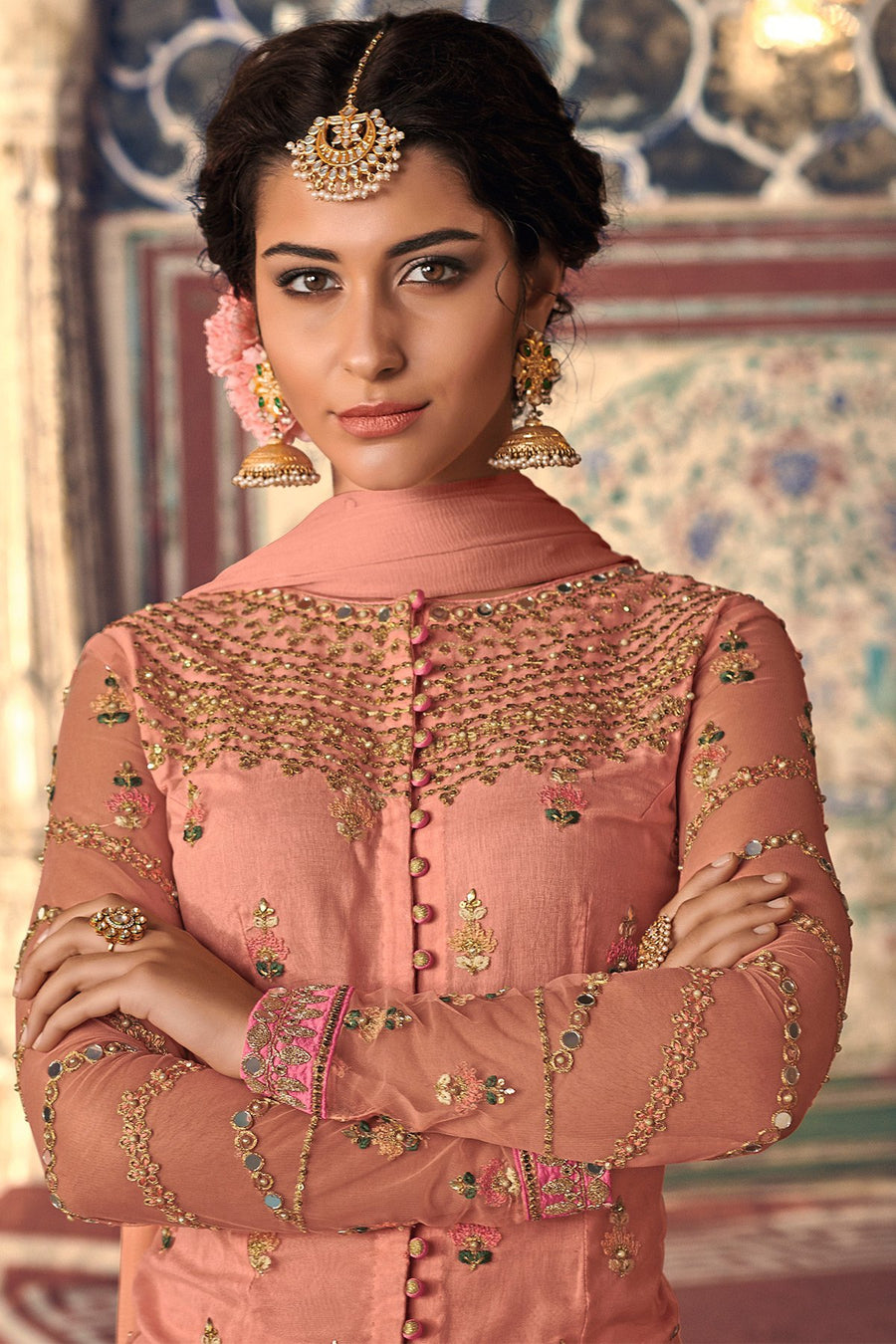 Peach Pink Party Wear Sharara suit