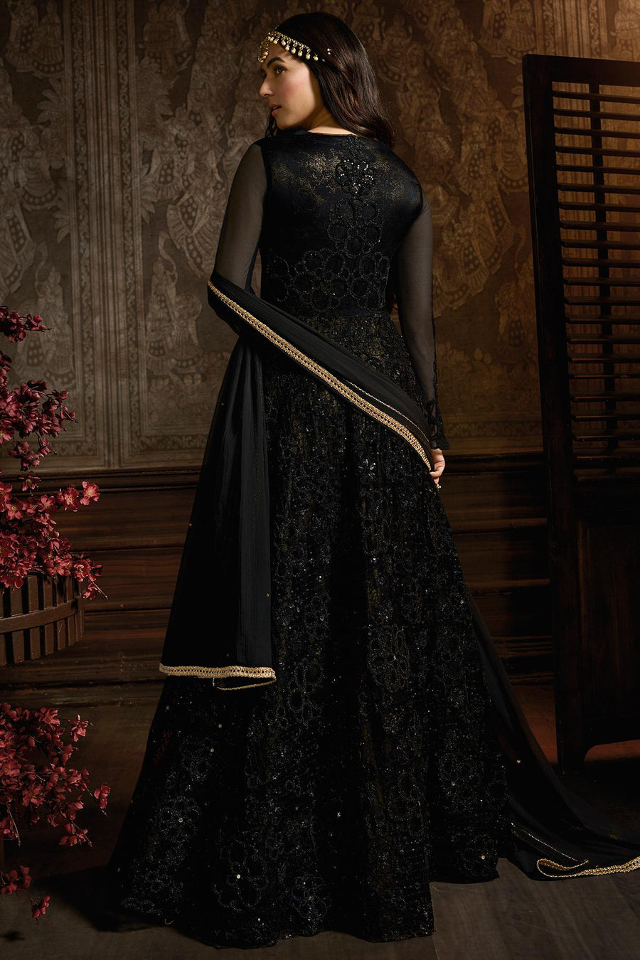 Midnight Black Designer Net Anarkali Suit