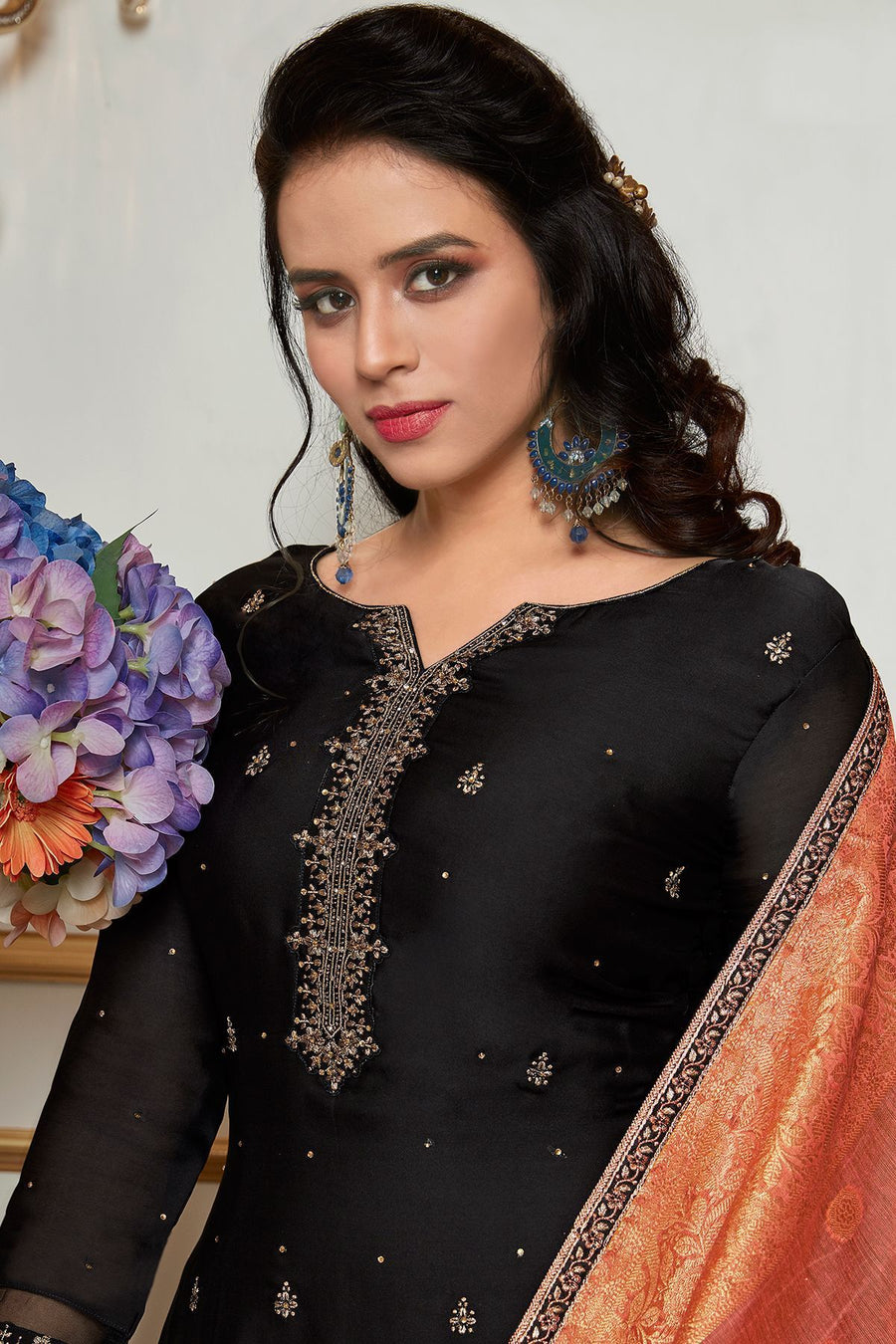 Midnight Black Embroidered Sharara Suit