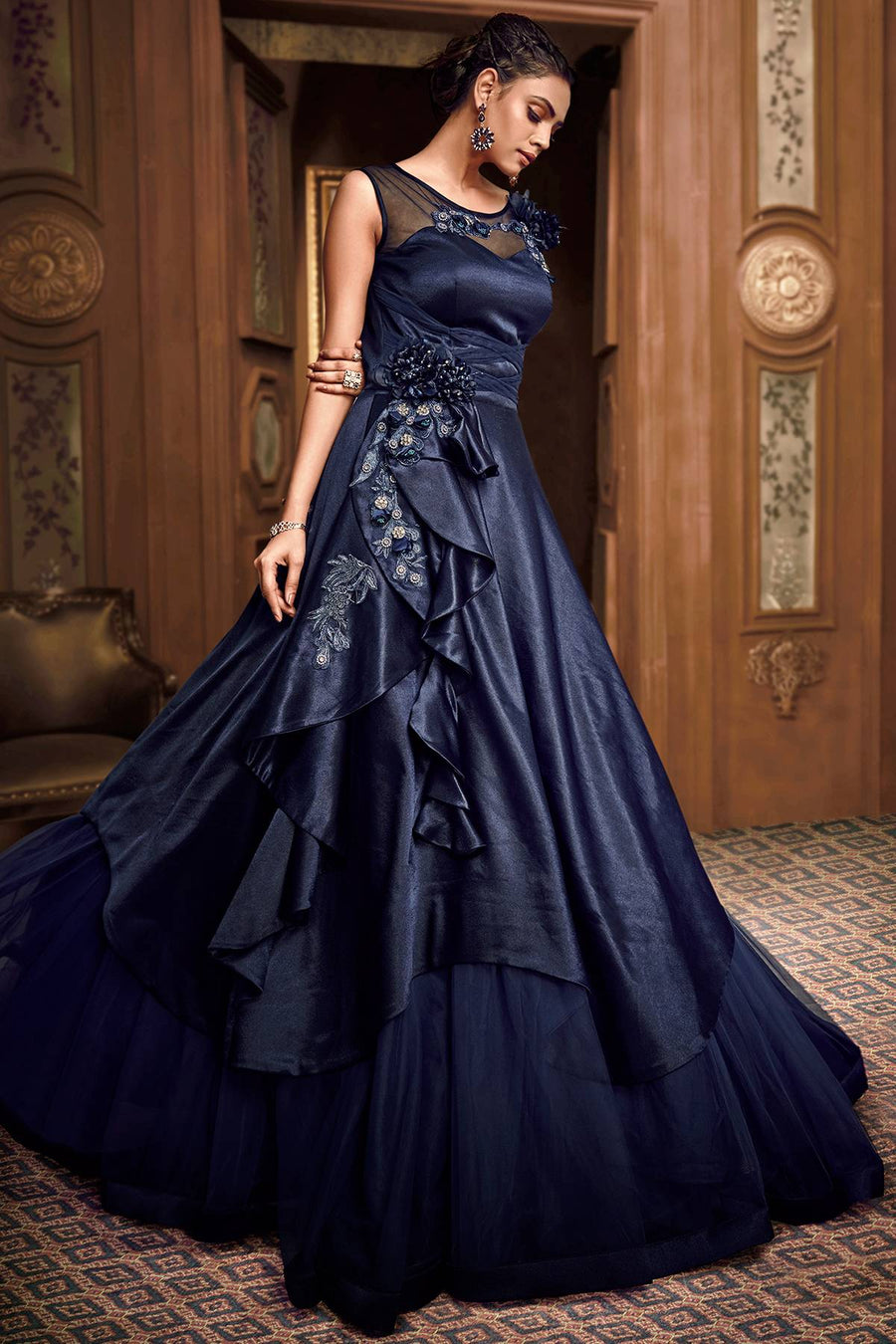 Midnight Blue Designer Silk Gown