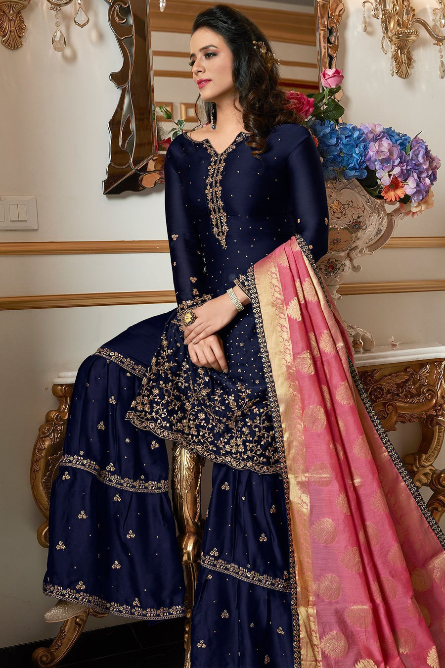 Midnight Blue Embroidered Sharara Suit