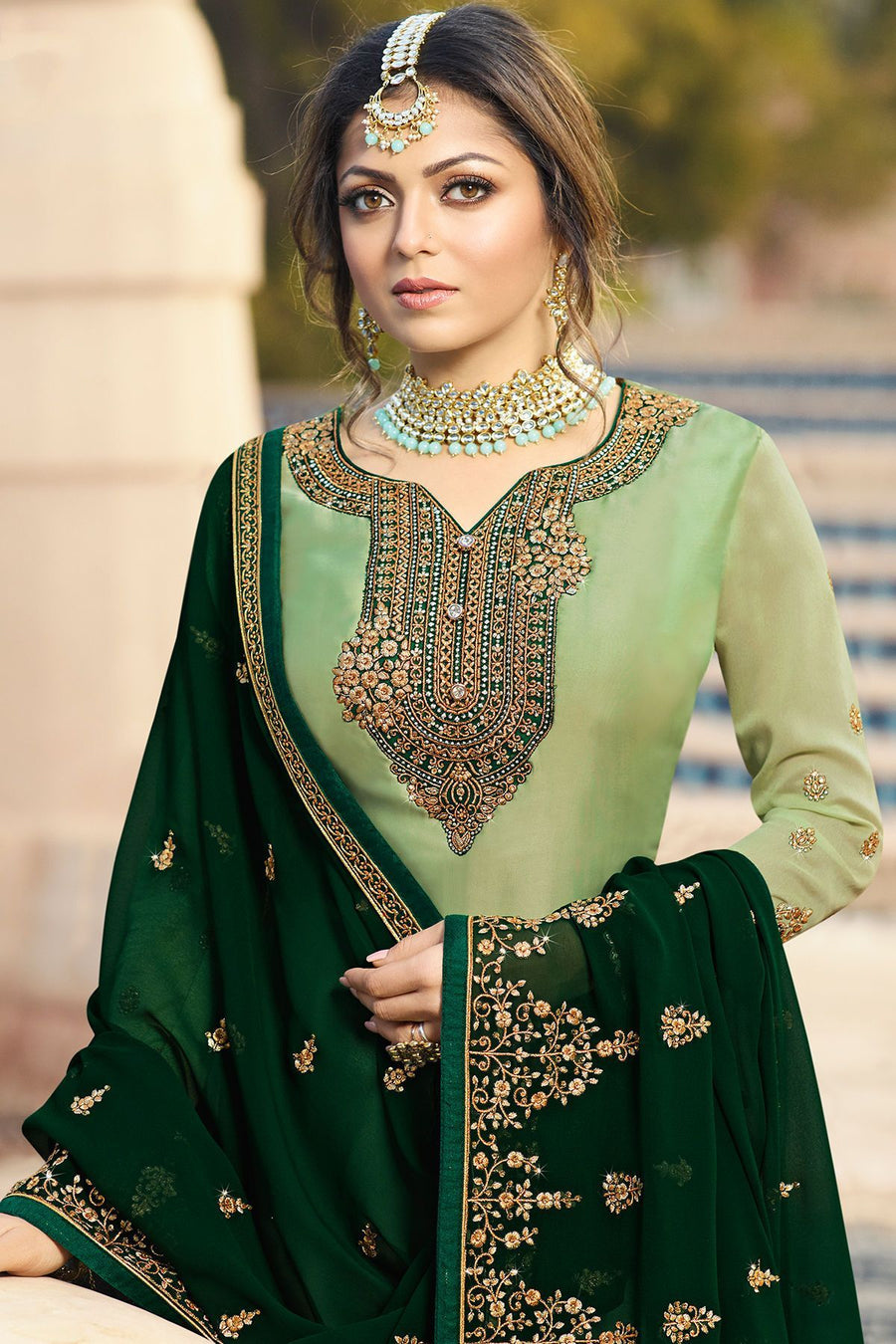 Mint and Forest Green Embroidered Sharara Suit