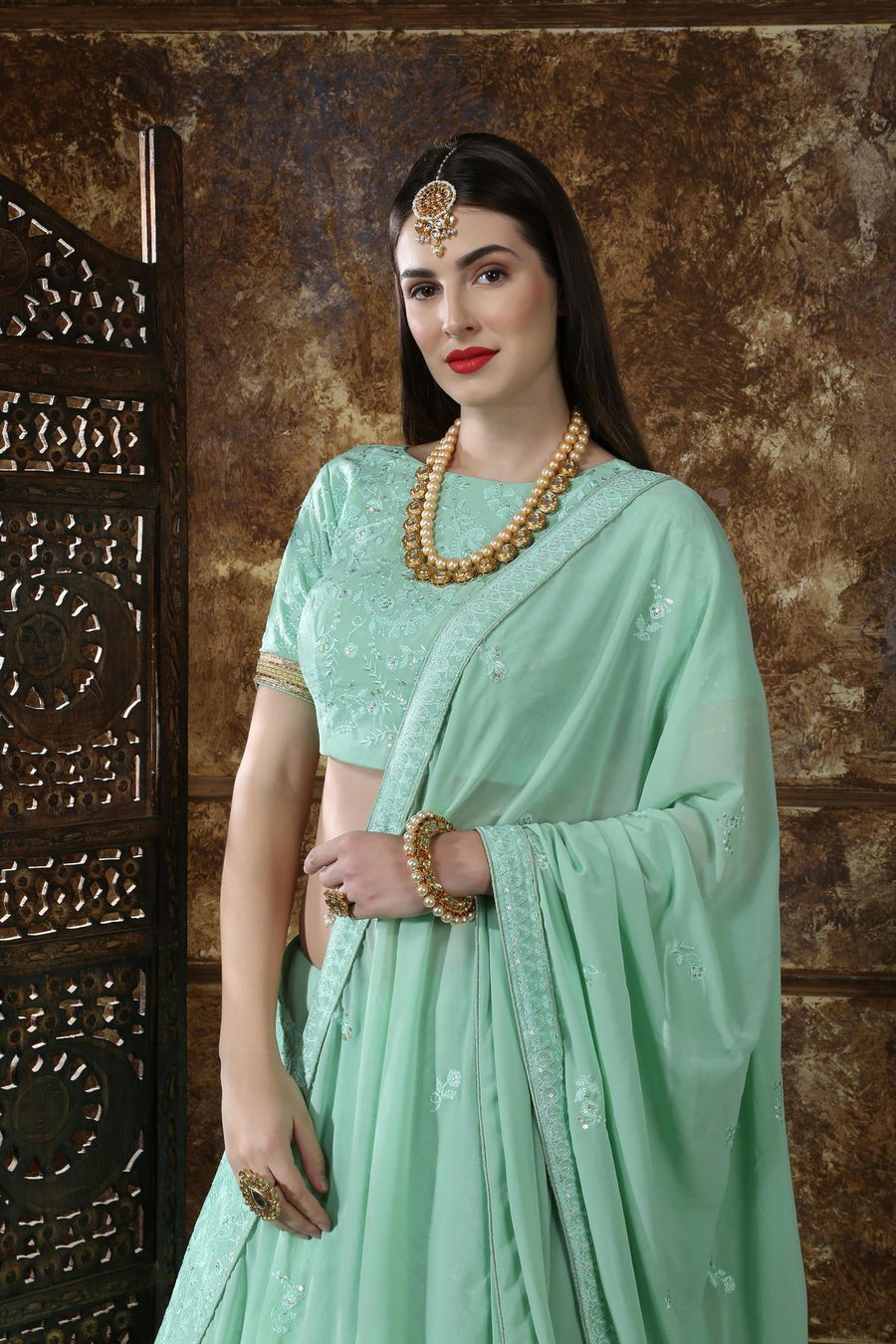 Mint Green Georgette Bridesmaid Lehenga Choli