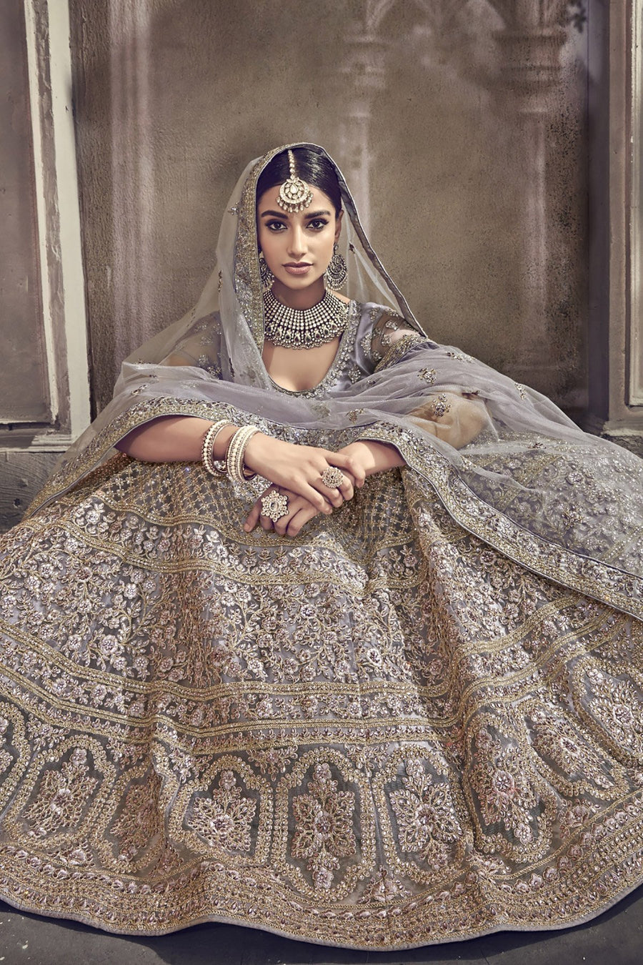 Gray color designer wear Lehenga set