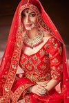 Red Silk Party Wear Lehenga Set