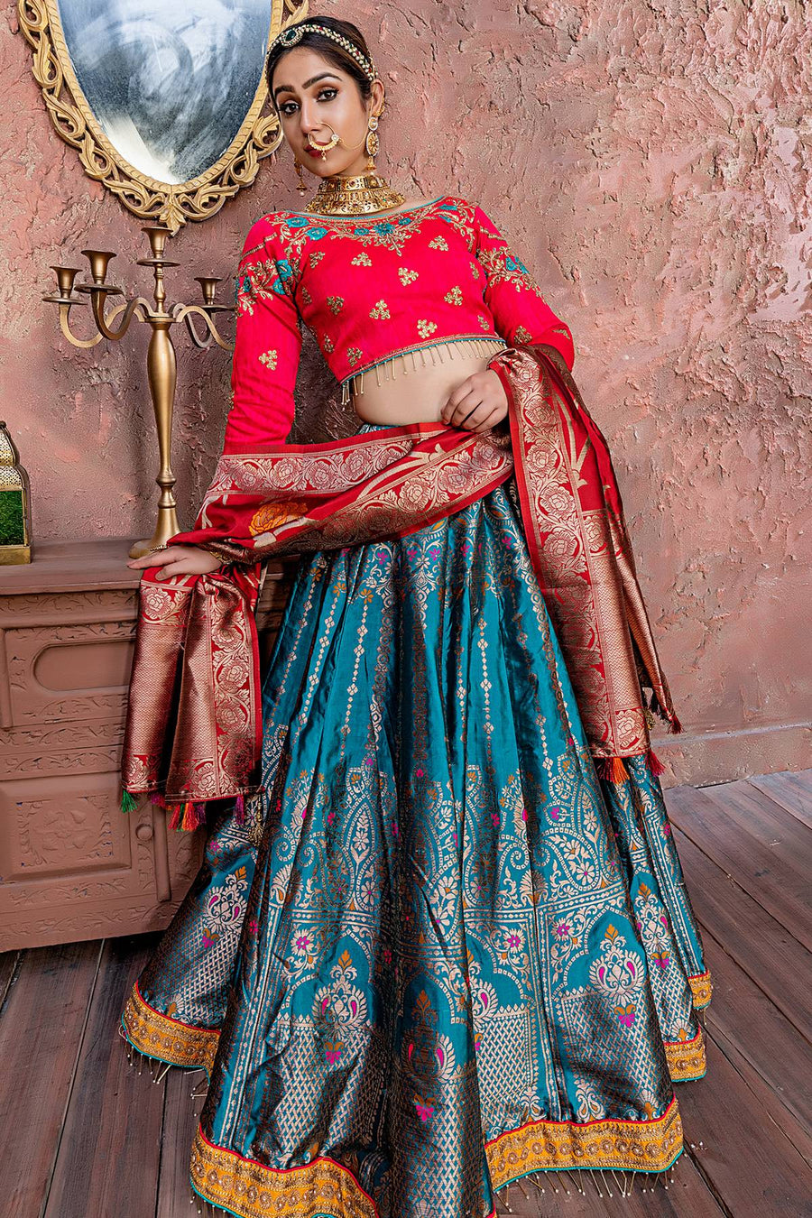 Morpich And Red Banarasi Silk Bridal Lehenga Choli