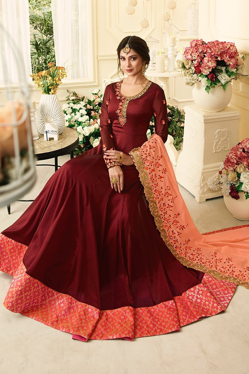 Maroon Silky Georgette Anarkali Suit With Resham Embroidery