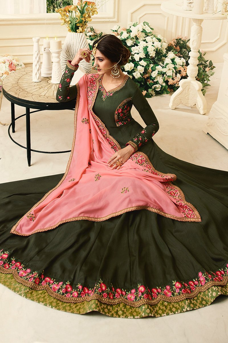 Forest-Green Pure Silk Anarkali suit