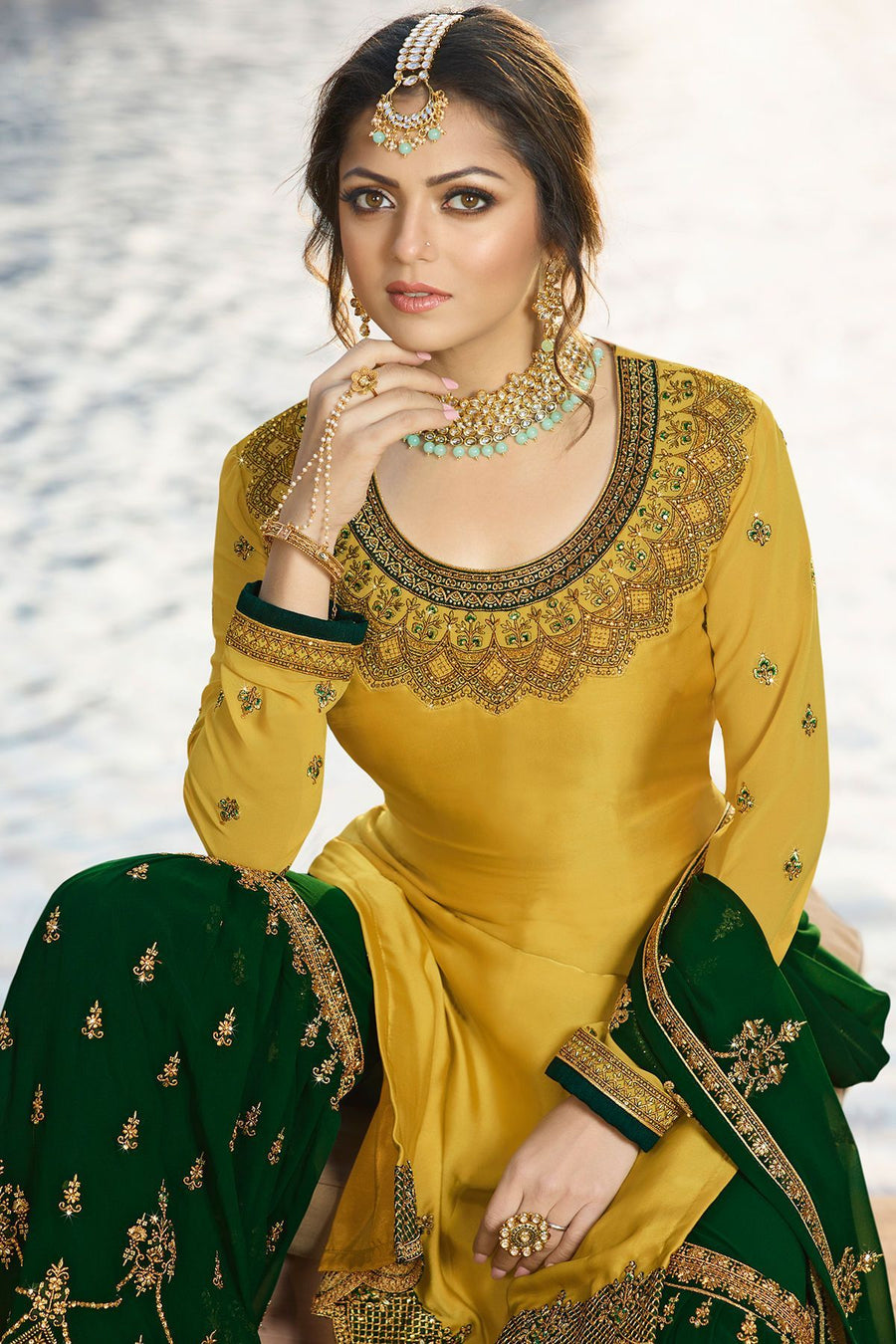 Mustard and Forest Green Embroidered Sharara Suit