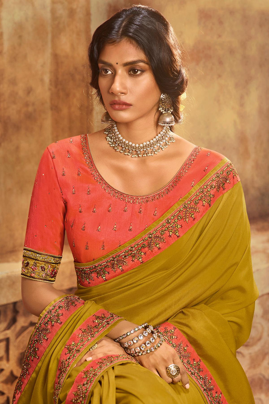 Mustard And Gajari Green Designer Silk Sari