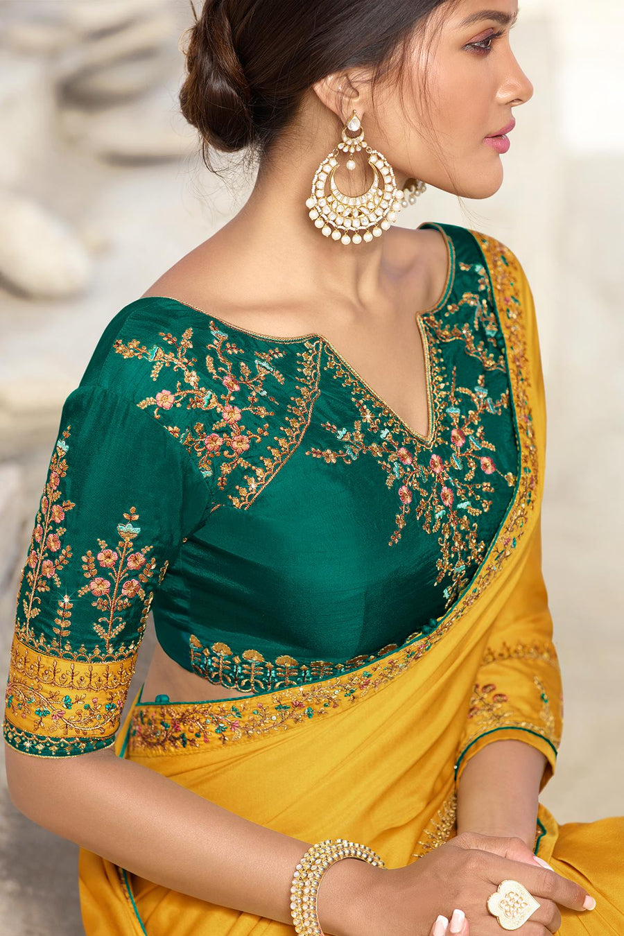 Mustard And Green Designer Silk Sari