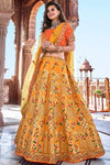 Mustard and Orange Wedding Lehenga Choli Set
