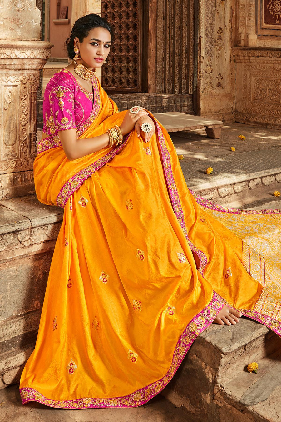 Mustard And Pink Banarasi Silk Sari