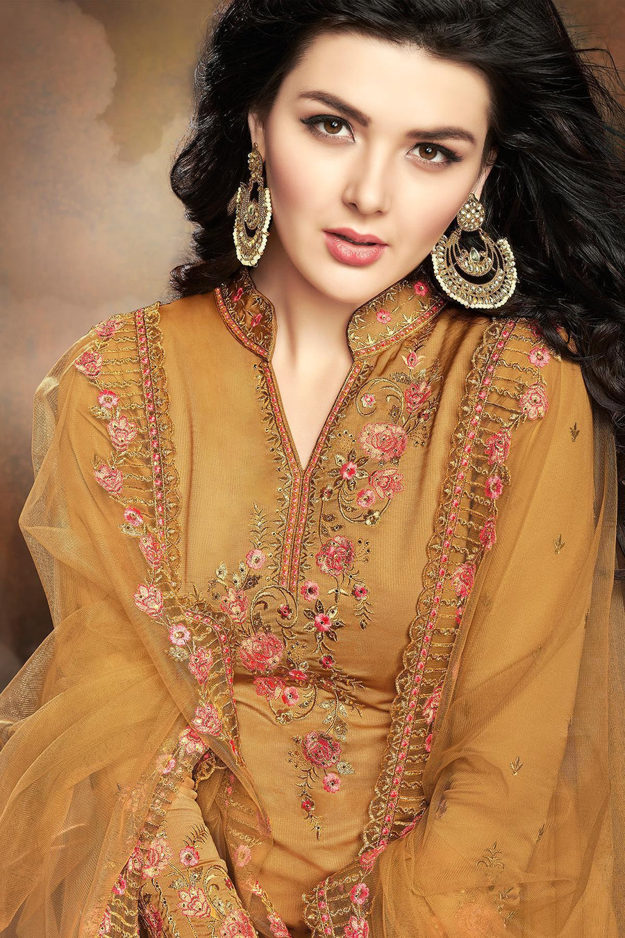 Mustard Designer Embroidered Silk Sharara Suit
