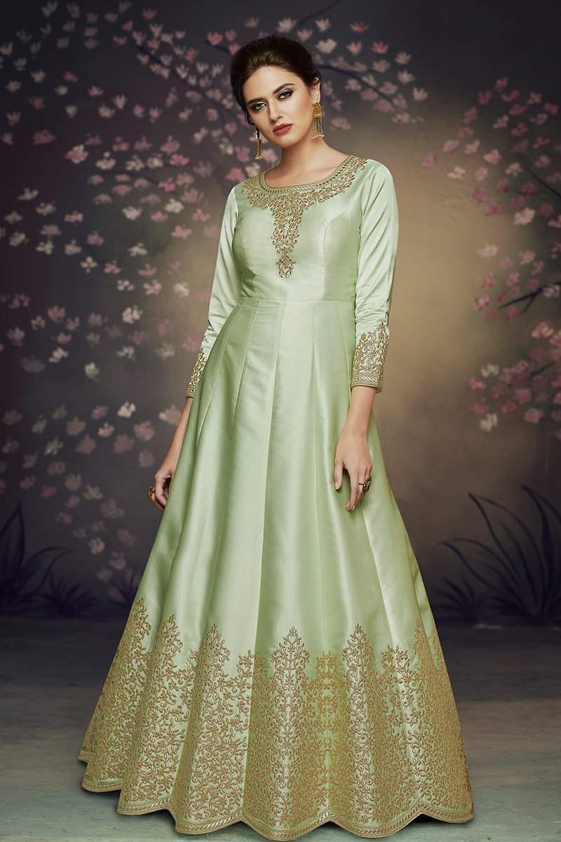 Charming Green Party Wear Satin Silk Gown