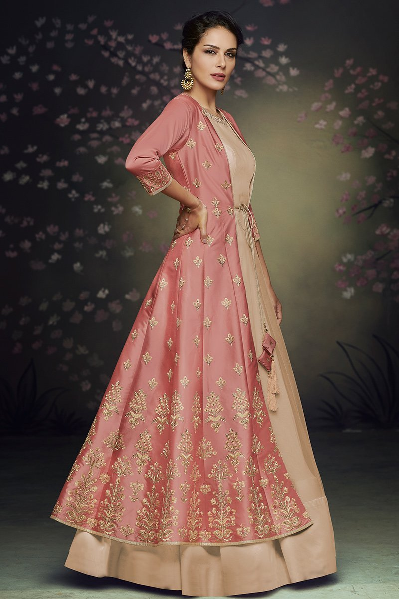 Pink and Beige Net and Satin Silk Gown with Jacket