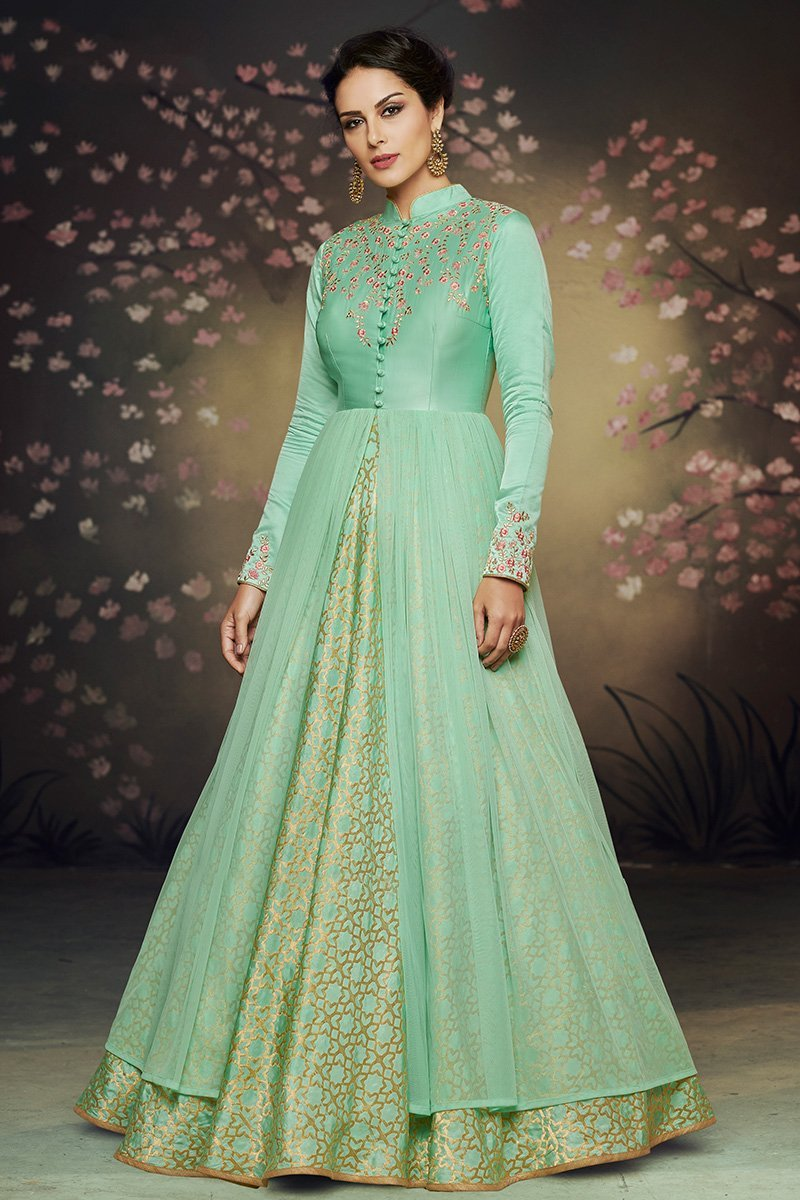 Sea Green Net and Brocade Party Wear Gown