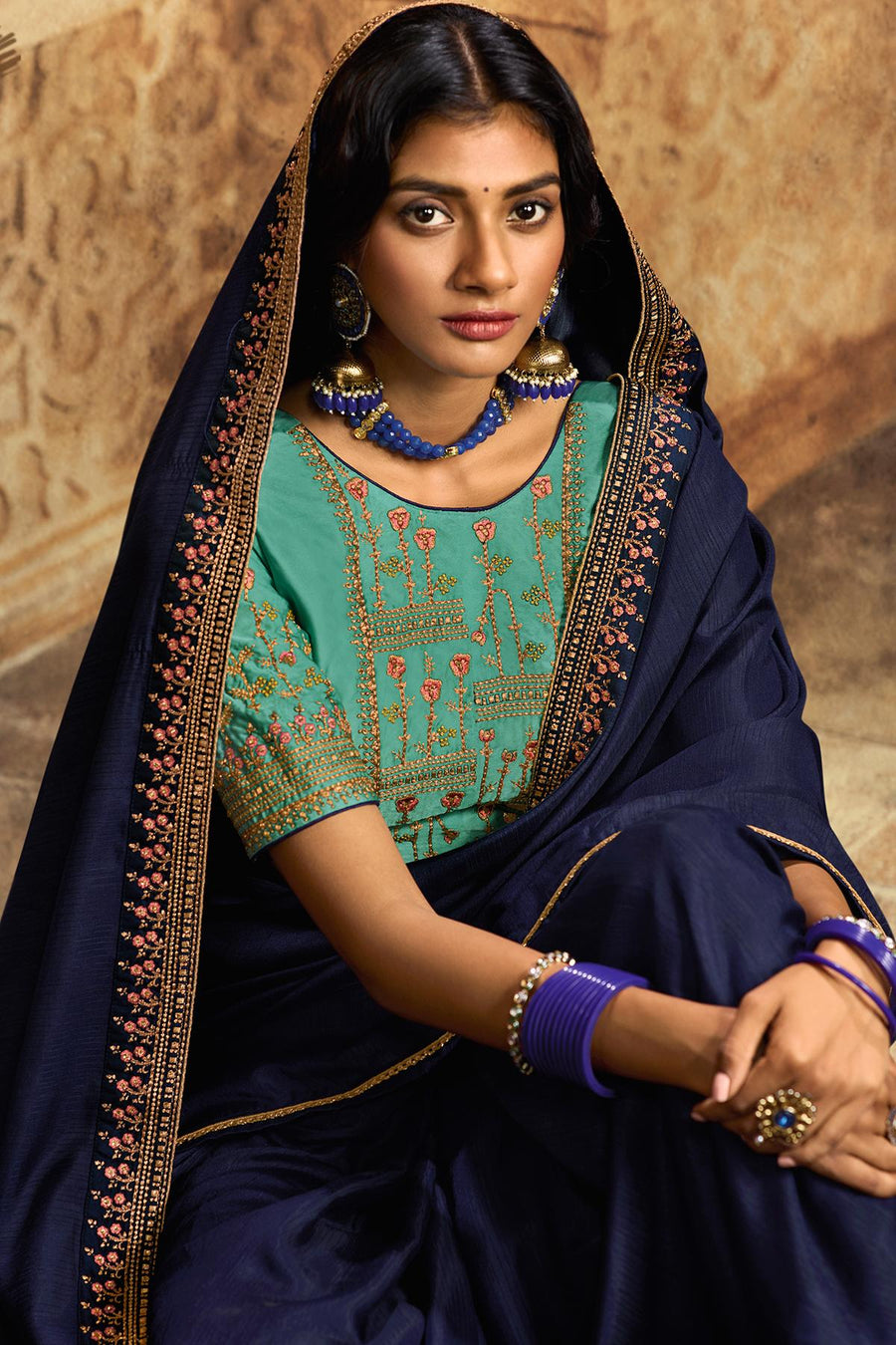 Navy Blue And Blue Designer Silk Sari
