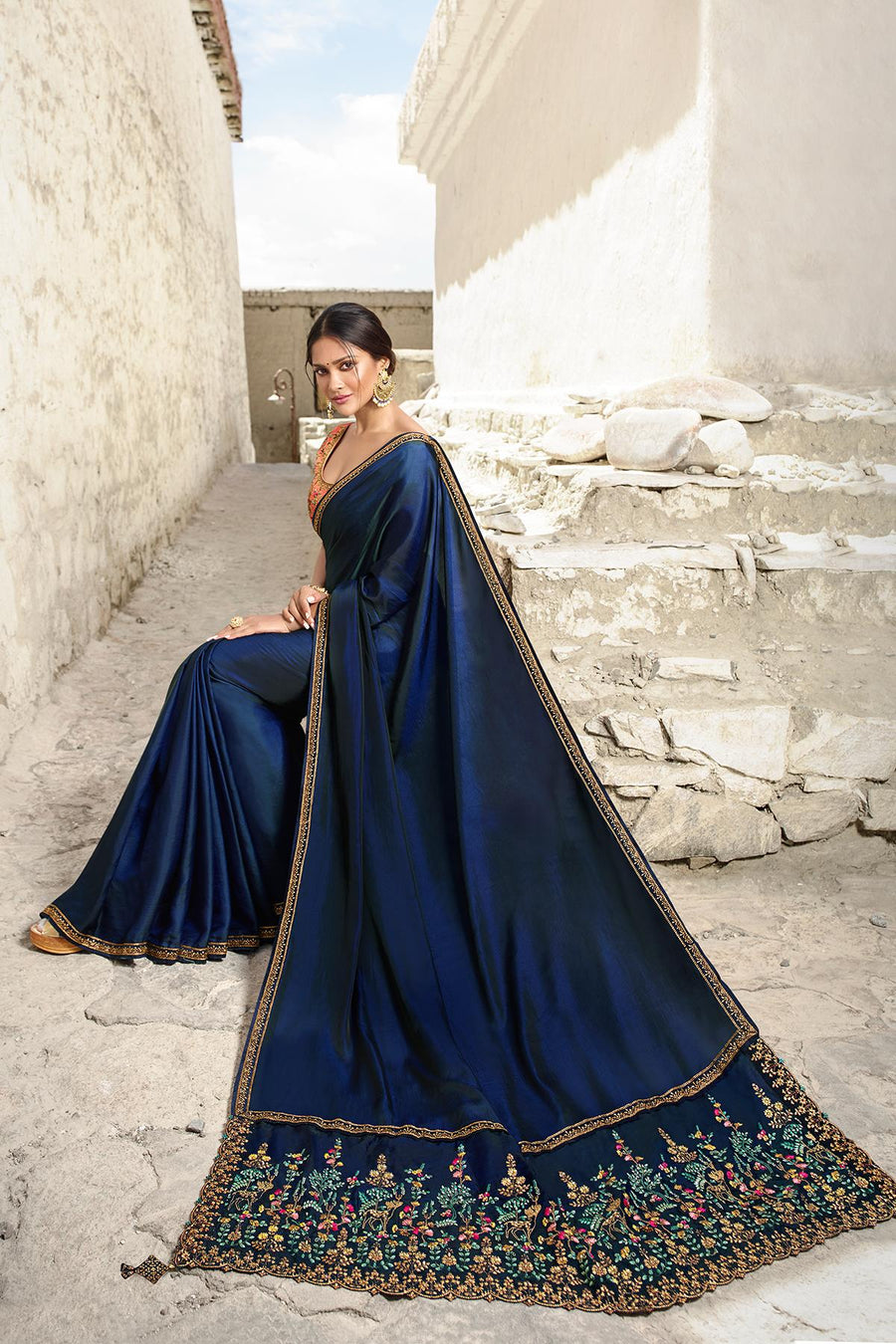 Navy Blue And Peach Designer Silk Sari