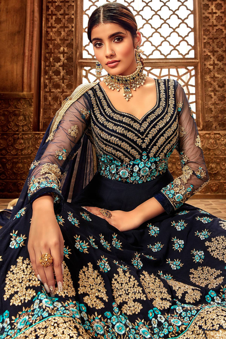 Navy Blue Designer Velvet Anarkali Suit
