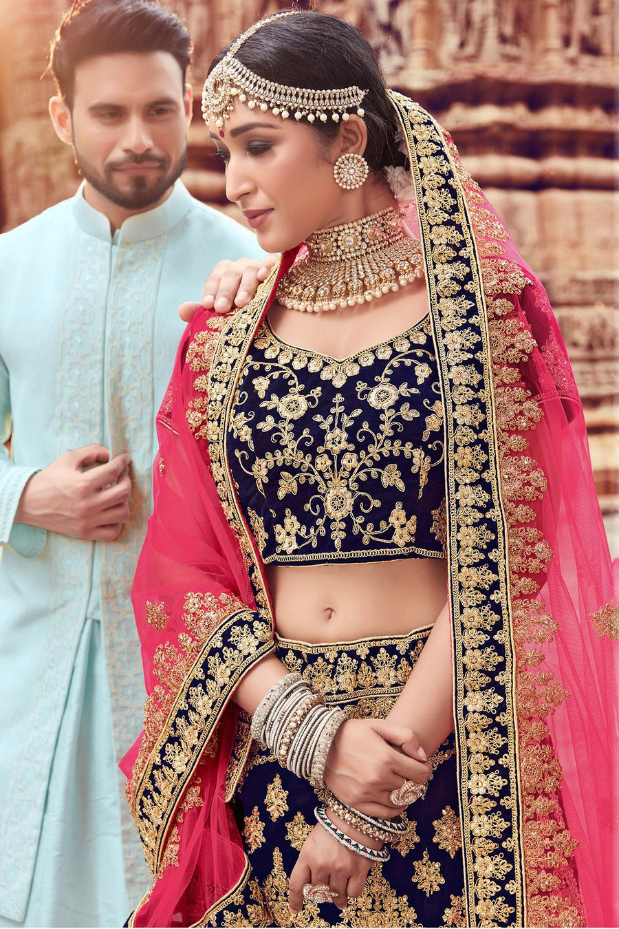 Navy Blue Velvet Bridal Lehenga Choli
