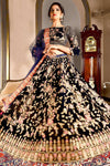 Navy Blue Velvet Bridal Wear Lehenga Choli