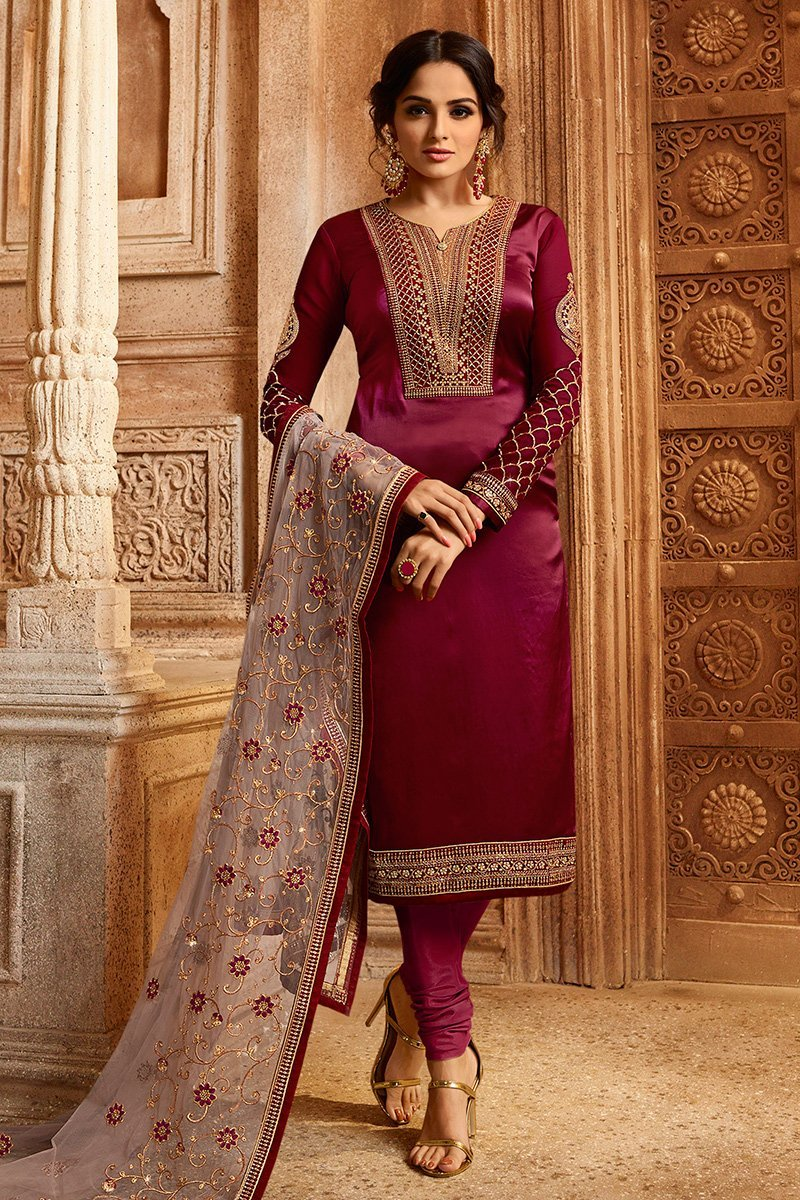 Red And Pink Georgette Kurti Set with Dual Bottom Lehenga/Pant