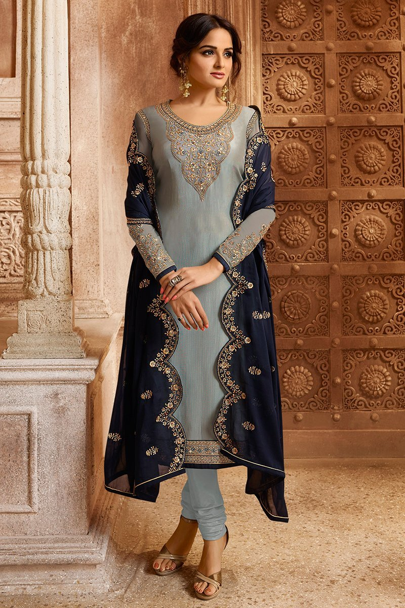 Grey and Navy Blue Georgette Kurti Set with Dual Bottom Lehenga/Pant