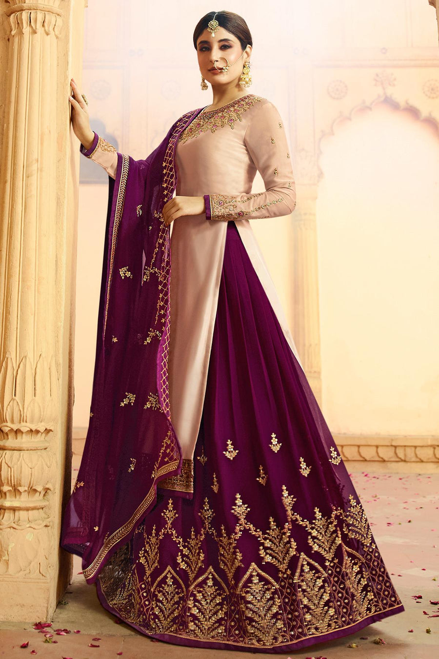 Nude and Wine Georgette Lehenga Style Suit