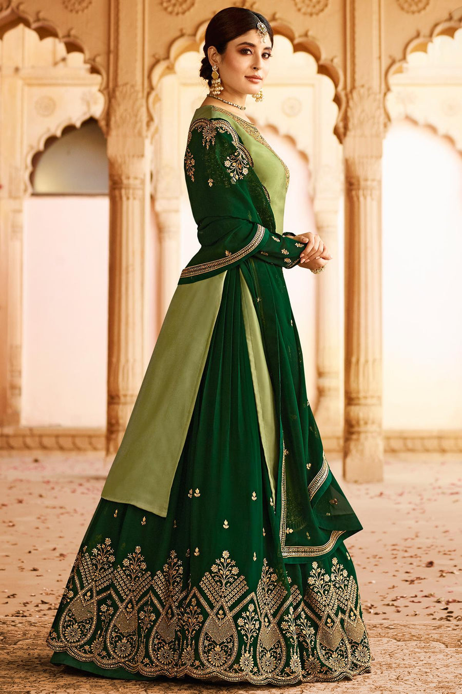 Olive and Forest Green Georgette Lehenga Style Suit