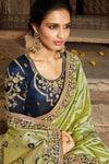 Olive Green And Royal Blue Banarasi Silk Sari