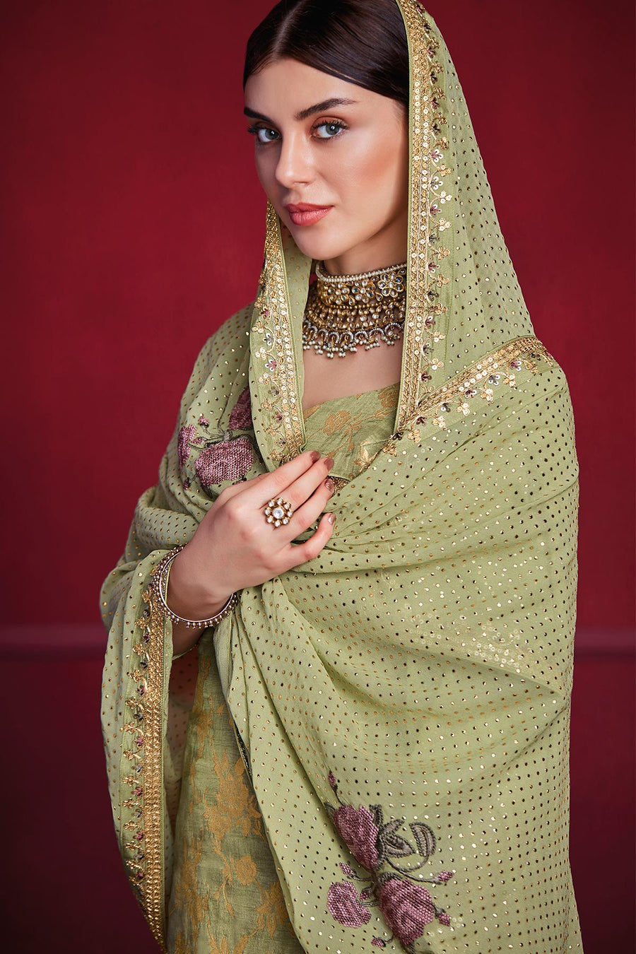 Olive Green Designer Dola Silk Palazzo Suit