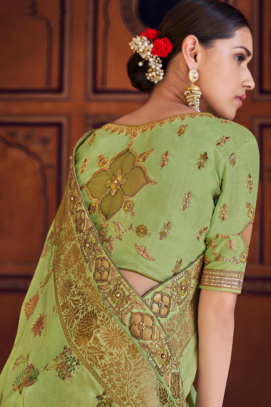 Olive Green Designer Wedding Silk Sari