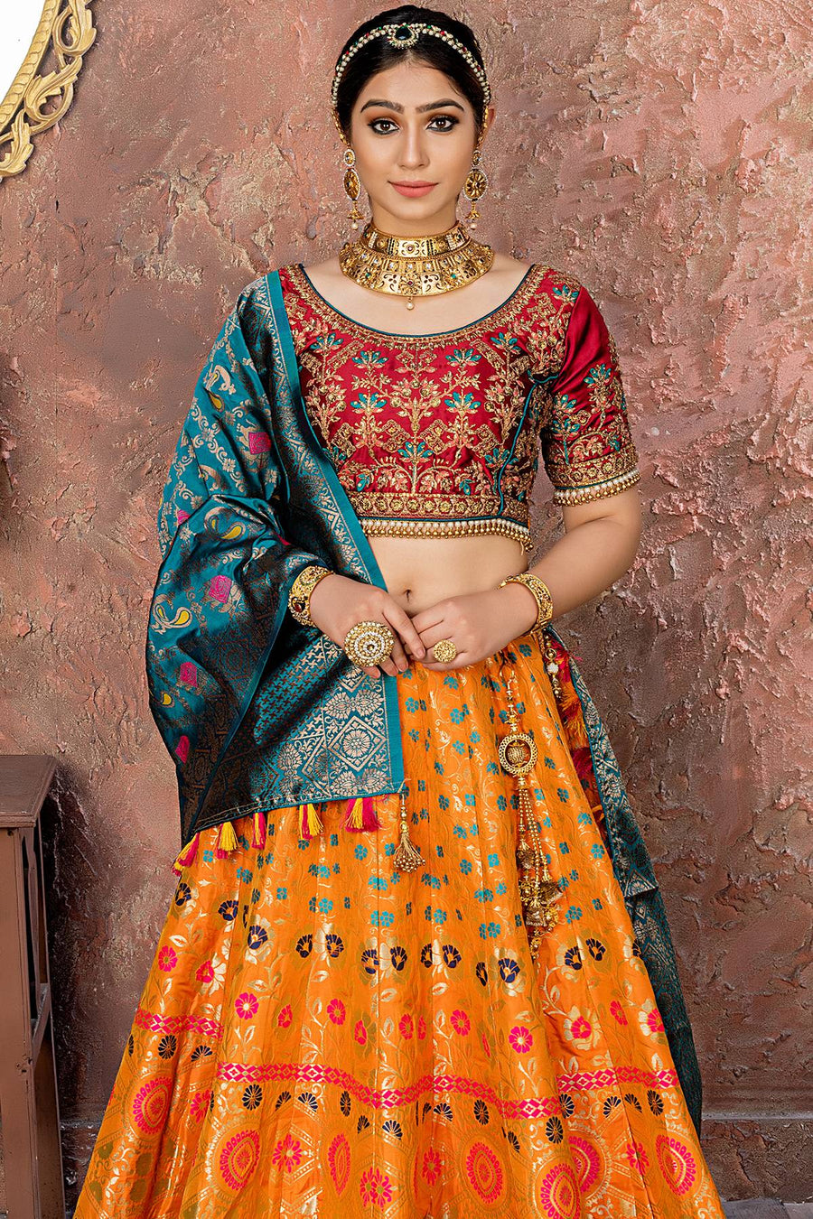 Orange And Maroon Banarasi Silk Bridal Lehenga Choli