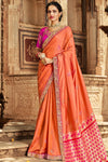 Orange And Pink Banarasi Silk Sari