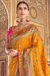 Orange and Rani Designer Silk Sari