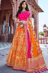Orange and Rani Wedding Lehenga Choli Set