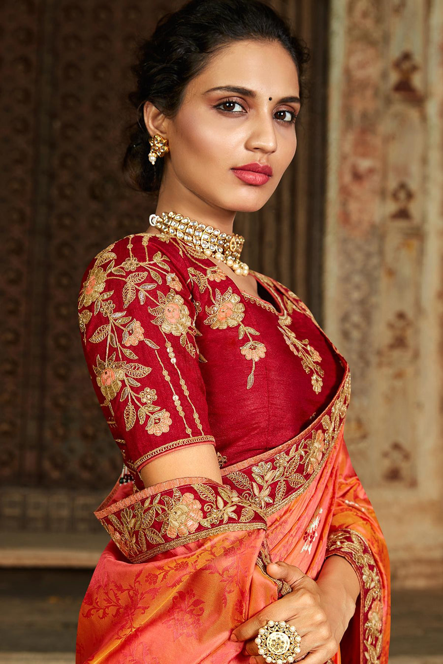Orange And Red Banarasi Silk Sari