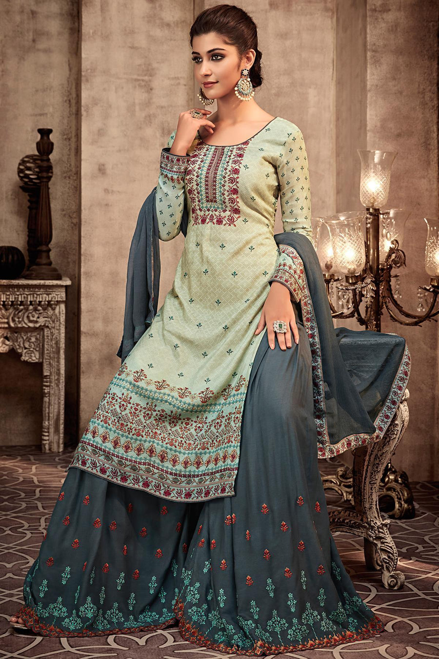 Pastal Green and Grey Printed Sharara Suit