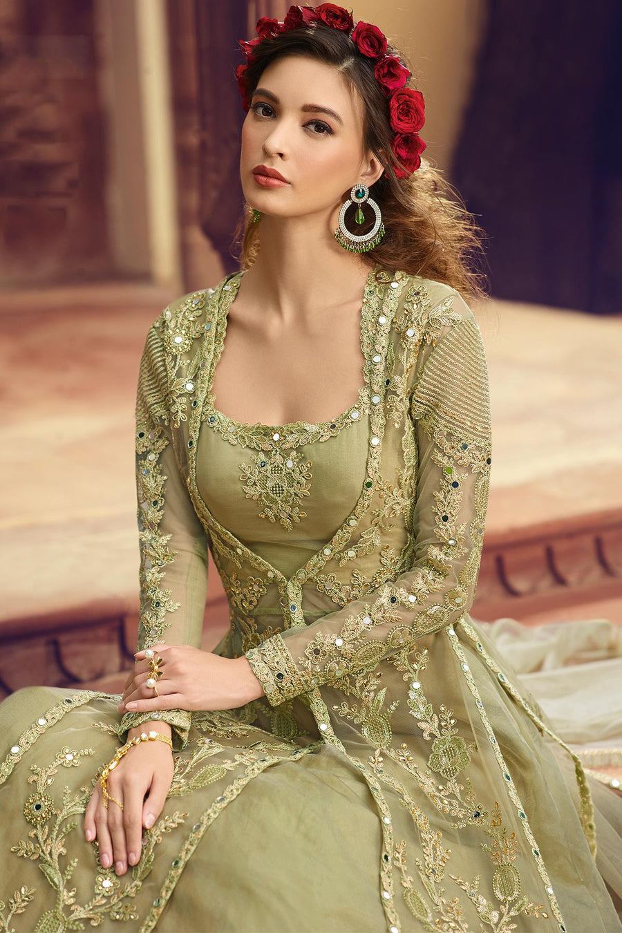 Pastel Green Butterfly Net Lehenga Suit