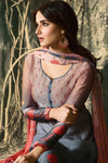 Peach and Gray Shaded Georgette Sharara Suit