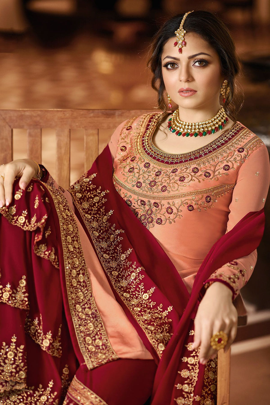 Peach and Magenta Embroidered Sharara Suit