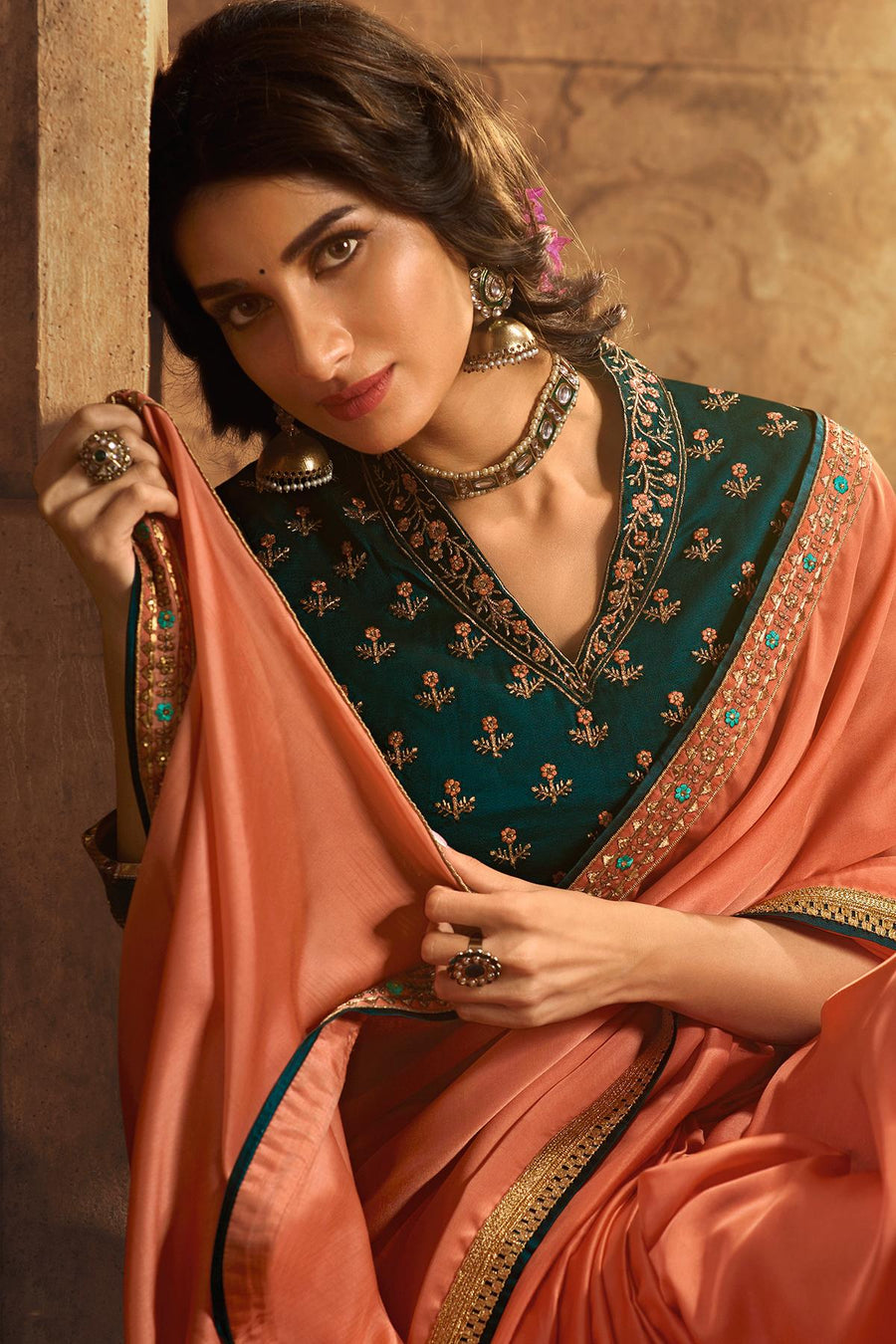 Peach And Rama Green Designer Silk Sari