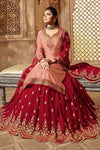 Peach And Red Designer Lehenga Kurti Set
