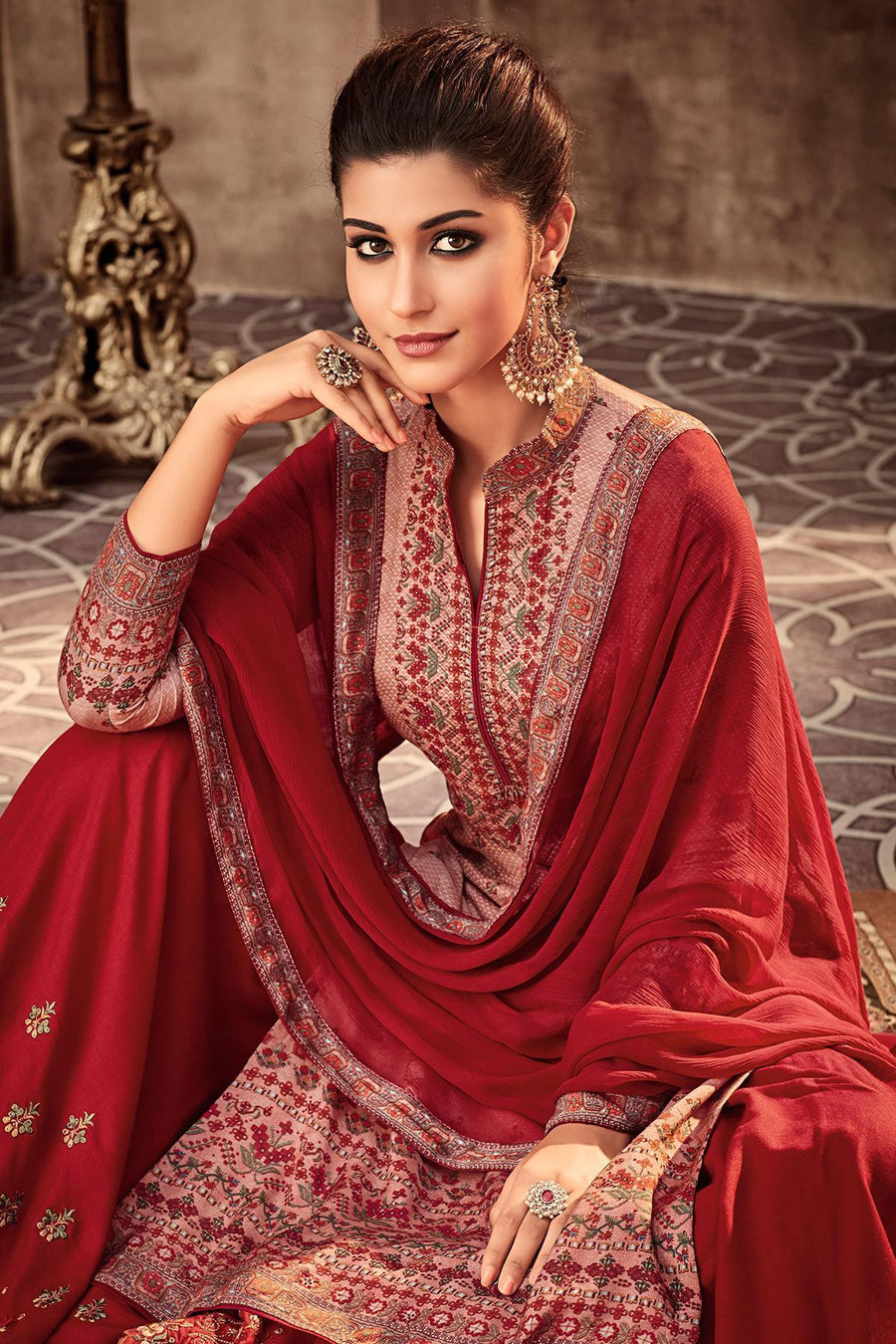 Peach and Red Printed Designer Sharara Suit