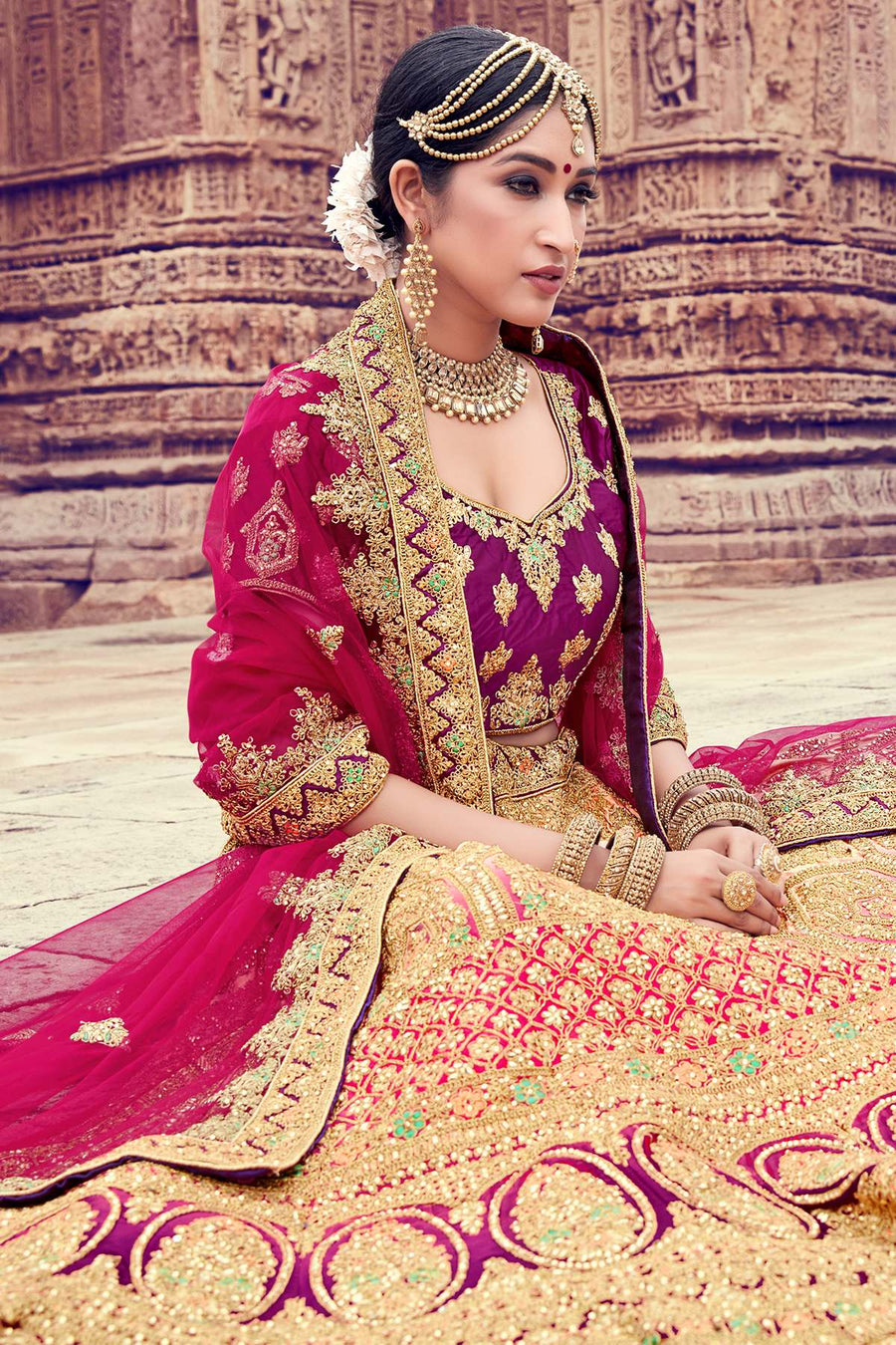Peach And Wine Naylon Satin Bridal Lehenga Choli
