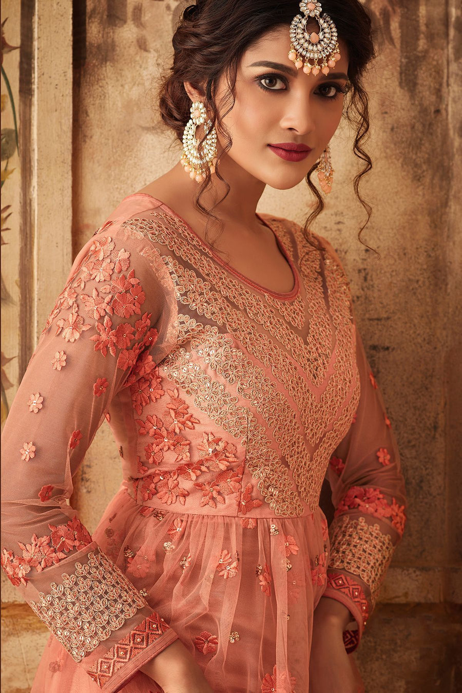 Peach Net Embroidered palazzo Suit