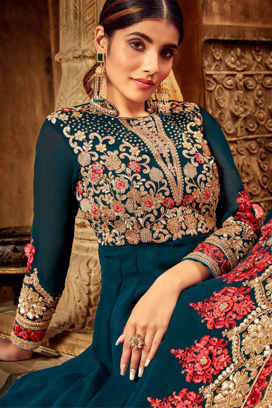Peacock Blue Designer Anarkali Suit