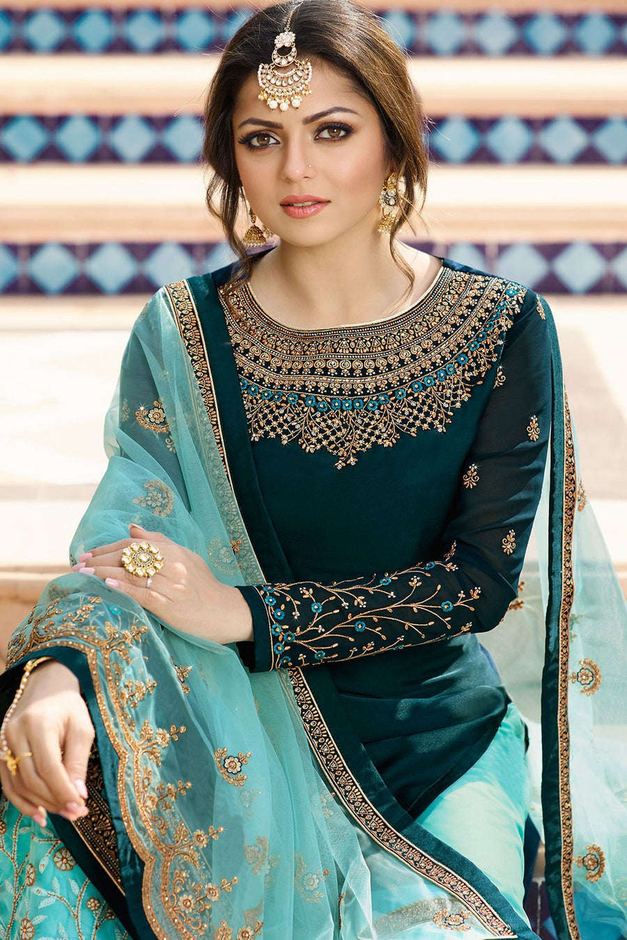Peacock Blue Embroidered Sharara Suit